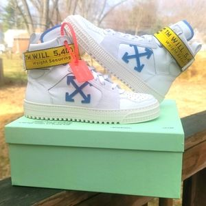 Off-White White and Blue Industrial High-Top Sneak